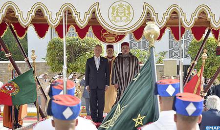 Ceremonia de bienvenida oficial al presidente portugués en Casablanca