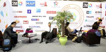 COP22: exposants, Société civile, ONG et ambiance des stands dans les pavillons vert et bleu de la COP22 à Marrakech (09/11/16)