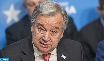 "(FILES) This file photo taken on May 10, 2017 shows UN Secretary General, António Guterres attending the London Somalia Conference at Lancaster House in London. UN Secretary-General Antonio Guterres on May 15, 2017 condemned North Korea over its launch of a ballistic missile and called on Pyongyang to return to denuclearization. ""This action is in violation of Security Council resolutions and a threat to peace and security in the region,"" said Guterres in a statement by his spokesman.   / AFP PHOTO / JACK HILL"