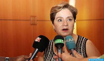 La secrétaire exécutive de la Convention-Cadre des Nations Unies sur les changements climatiques (CCNUCC), Patricia Espinosa, donne, vendredi (09/09/16) à Skhirat, une déclaration à la presse à l'occasion de la clôture des consultations informelles entre les parties dans le cadre des préparatifs de la COP22.