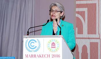 La Directrice générale de l'UNESCO, Irina Bokova, intervenant, lundi (14/11/16) à Marrakech, lors de la cérémonie d'ouverture de la journée de l'Education, organisée dans le cadre de la 22ème Conférence des parties à la convention-cadre des Nations unies sur les changements climatiques (COP22).