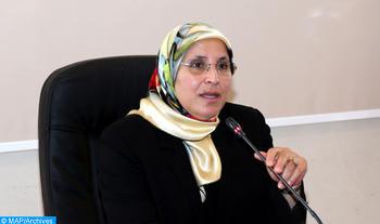 """La ministre de la Famille, de la Solidarité, de l'Égalité et du Développement social, Bassima Hakkaoui, s'exprimant, mercredi (14/06/17) à Rabat, lors de la 10è réunion du Comité technique issu de la commission interministérielle chargée du suivi et de la mise en œuvre du PGE """"ICRAM2"""" dédiée à sa présentation."""