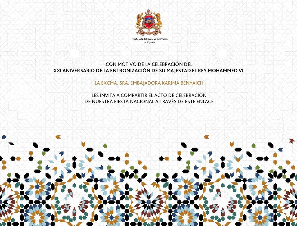la Sra.Embajadora Karima Benyaich les invita a compartir el acto de celebración de nuestra Fiesta Nacional a través del siguiente enlace:
